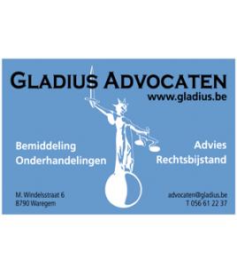Gladius Advocaten Waregem naamkaartje · Xtrema Reclamebureau - Webdesign Harelbeke - Websites Kortrijk - Xtrema Webdesign - West-Vlaanderen